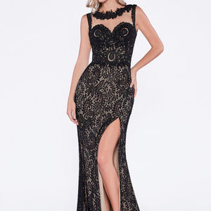 Illusion Neckline Lace Leg Slit Dress CDKD016